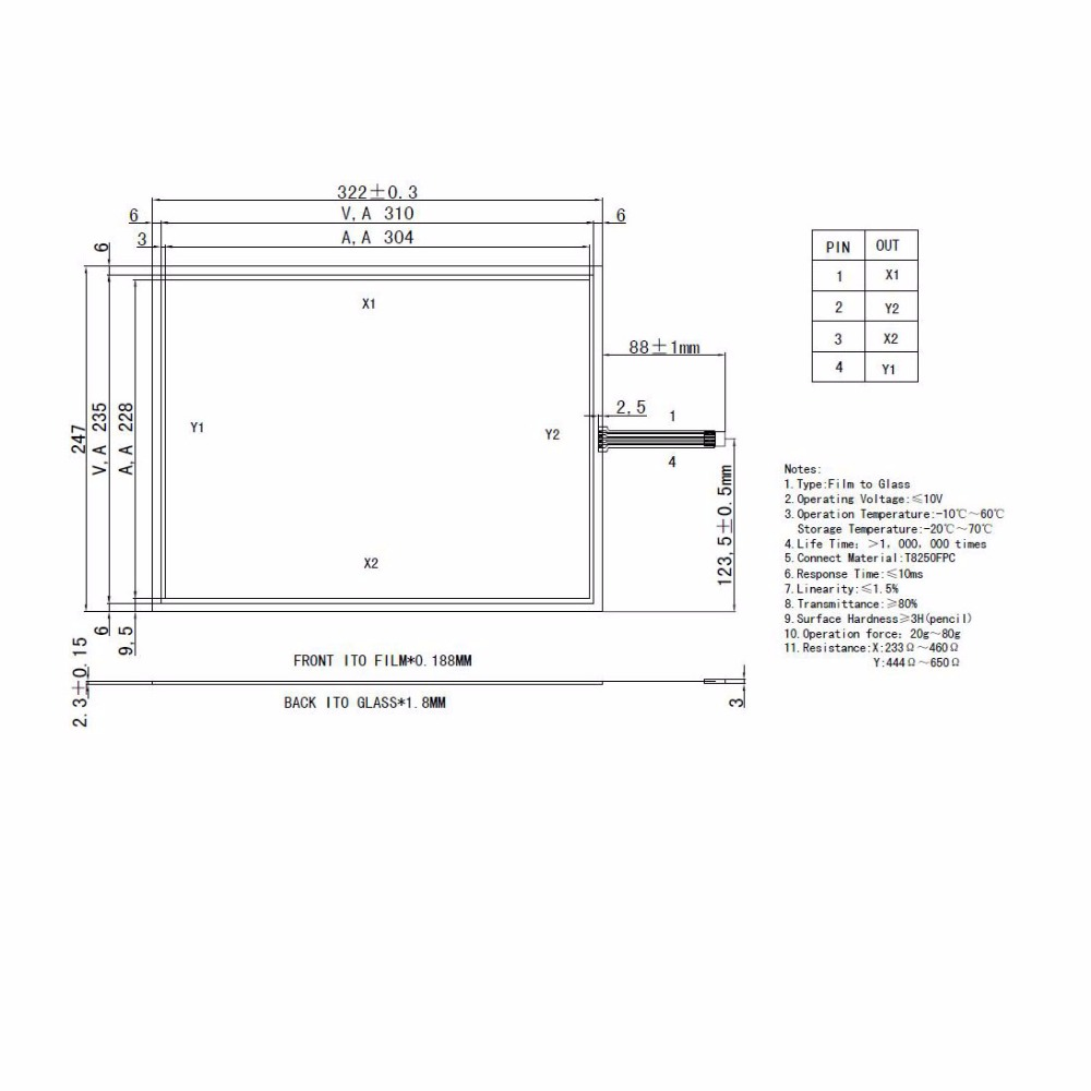 ZhiYuSun 4151023 322mm*247mm 15.1Inch  Touch Screen 4 wire resistive USB touch panel overlay  322*247 zhiyusun new266mm 207mm original handwritten12inch touch screen panel n7x0101 4201 ld on digital resistance compatible