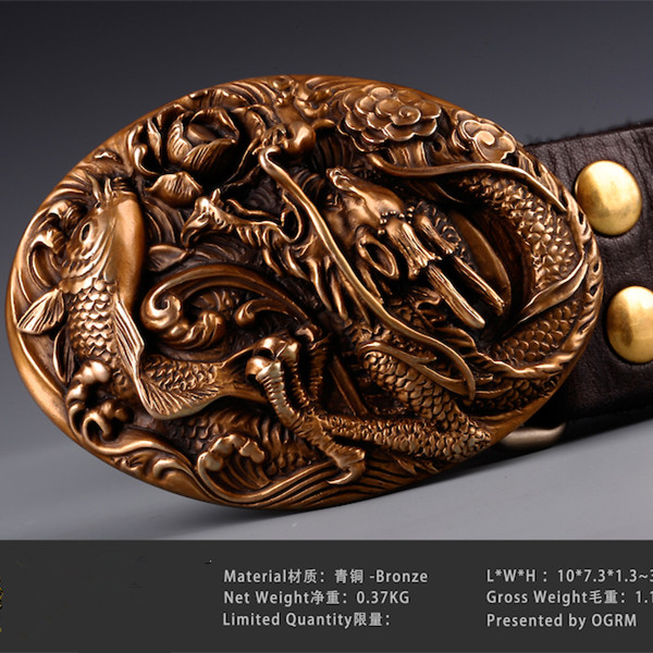 f053b0dffe3 Detail Feedback Questions about OGRM Bronze Buckle Fine Handmade Bronze  Carp China Dragon Men Belt Buckles Cowhide Leather Designer Belts Men High  Quality ...