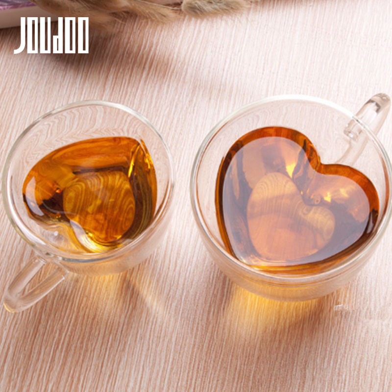 JOUDOO 180ml 240ml Creative Heat resistant Heart shaped Tazas De Ceramica Double Layers Glass Water Cup 40 in Mugs from Home Garden