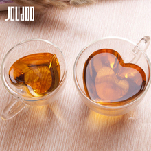JOUDOO 180ml 240ml Creative Heat-resistant Heart-shaped Tazas De Ceramica Double Layers Glass Water Cup 40