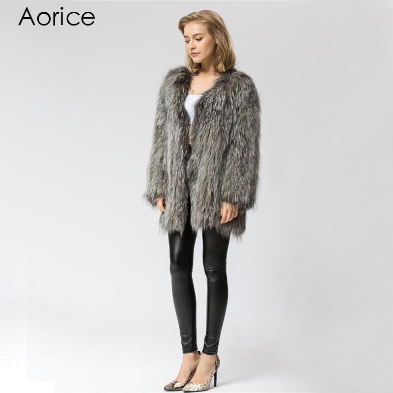 Manteau Fox Outwear Silver Tricot Femmes Mode Cr055 Réel Chaud Veste Tricoté Long Hiver De Fourrure ax4HqwX