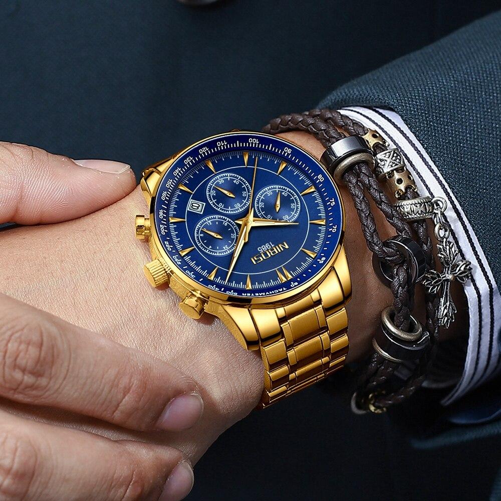 NIBOSI Arch Glass Watch Men Top Brand Luxury Chronograph Wristwatch Waterproof Military Sport Gold Male Clock Relogio Masculino