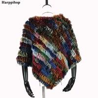 2019 Autumn Hot Sale Knitted Natural Fur Shawl Fashion Rabbit Fur Cape Shawl Genuine Rabbit Fur Women Black Fur Poncho
