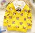 (1 peças/lote) 100% algodão 2016 menino bonito cavalheiro bebê urso outerwear