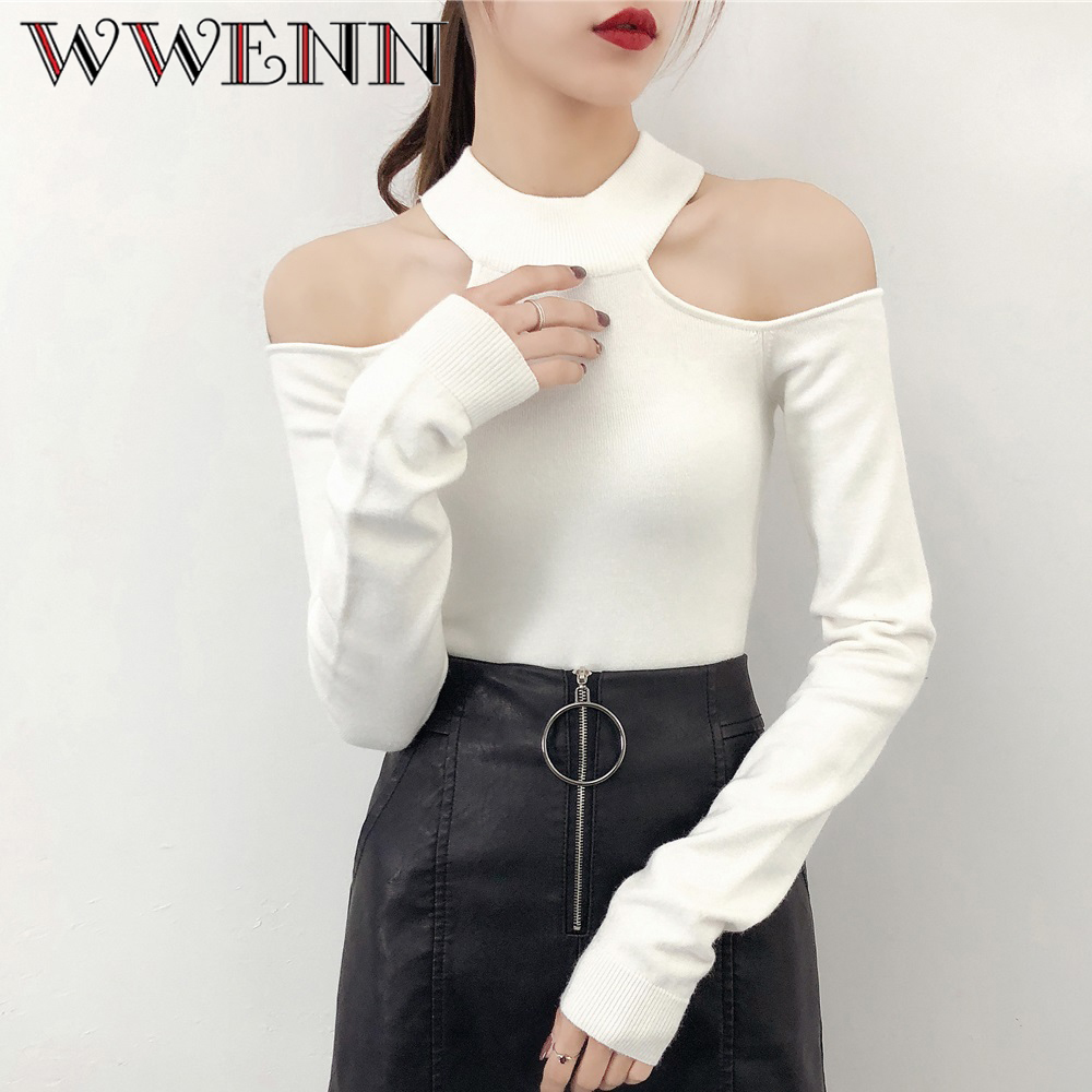 Cashmere Women Sexy O-Neck Chic Female Top Tees Off Shoulder Women Tops Elegant Casual Slim Knitted Tops Pullovers Sweater