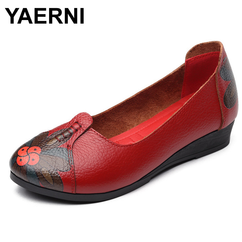 YAERNI women flats Moccasins 2017 genuine Leather Ballet high quality women flat shoes Oxford For Women Loafers 2017 metal head women shoes genuine leather oxford shoes for women flats shoes woman moccasins ballet flats zapatos mujer z464