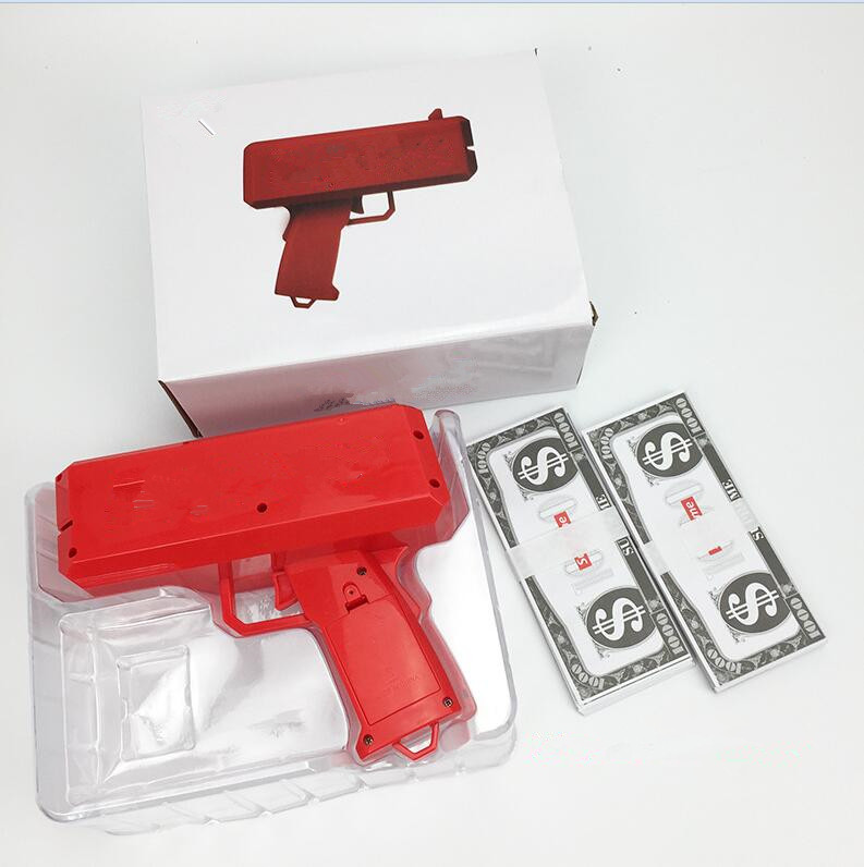 CANNONE Cassa Denaro PISTOLA FAR piovere denaro contante GUN rosso pistola Natale Giocattoli Fashion