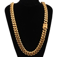 Hip Hop 18mm Men's Cuban Miami Link Necklace Stainless Steel Cool Clasp Lced Out Gold Casting Chain Biker Jewelry 7 40inch Long