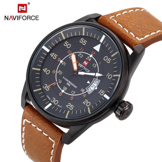 Relogio masculino moda relógio naviforce quartz relógio do esporte militar relógios homens marca de luxo homens pulseira de couro relógio de 9044