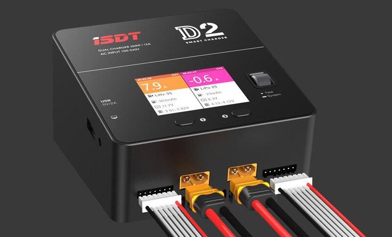 D'origine 200 w 0.1-10.0A * 2 AC100-240V D'ISDT PORTANT SUR la D2 2CH Équilibre Intelligent Batterie Chargeur Déchargeur 2.4N 320x240 IPS LCD Pour FPV RC