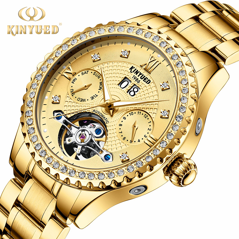 KINYUED Skeleton Mens Watches Top Brand Luxury Automatic Mechanical Watch Tourbillon Self Winding Militar Gold relogio masculinoKINYUED Skeleton Mens Watches Top Brand Luxury Automatic Mechanical Watch Tourbillon Self Winding Militar Gold relogio masculino