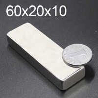 1/2/5Pcs 60x20x10 Neodymium Magnet 60mm x 20mm x 10mm N35 NdFeB Block Super Powerful Strong Permanent Magnetic imanes