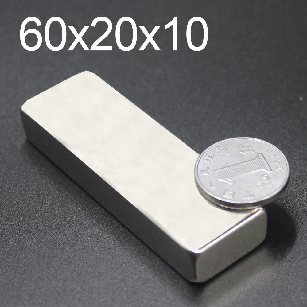 1/2/5Pcs 60x20x10 Neodymium Magnet 60mm x 20mm x 10mm N35 NdFeB Block Super Powerful Strong Permanent Magnetic imanes(China)