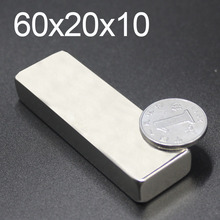 1/2/5Pcs 60x20x10 Neodymium Magnet 60mm x 20mm x 10mm N35 NdFeB Block Super Powerful Strong Permanent Magnetic imanes 48pc 2 5kg pulling ndfeb magnet dia 10mm 12mm and 16mm magnetic pots with thread neodymium permanent strong holding magnet