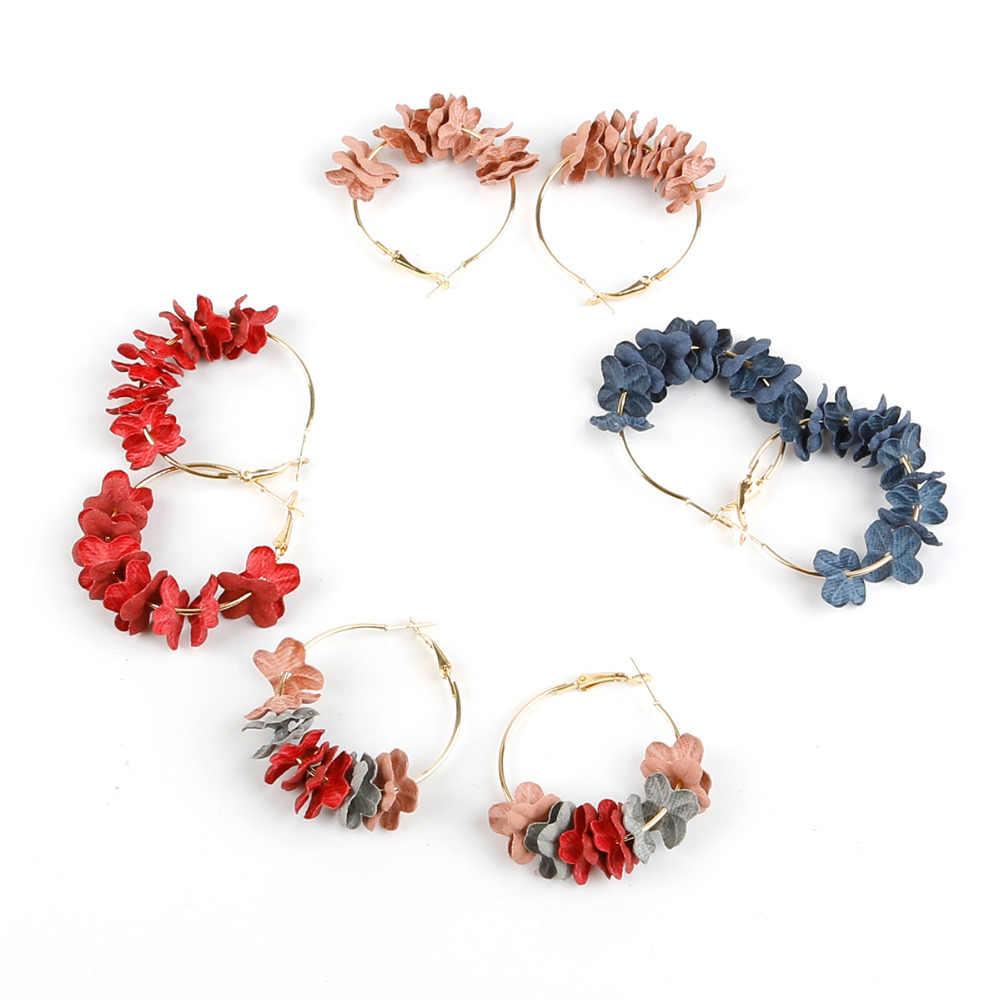 Nouveauté boucles d'oreilles pour femmes tissu fleur en attente couleur or cercle Pendientes femme mode bijoux