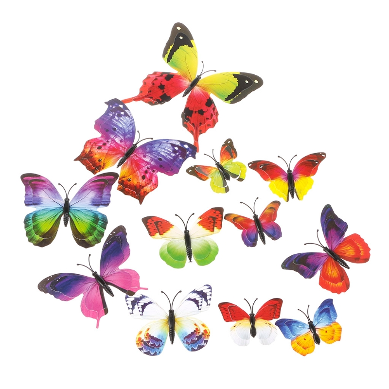 12Pcs Home Curtain Decor Beautiful Butterfly Shaped Sticker Pin Colorful Design