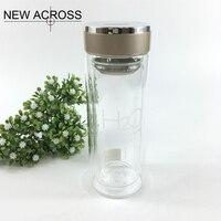 JUH 1 יחידות זכוכית שכבה כפולה בקבוק מים עם בידוד תה מתנת פרסום הדפסת לוגו מותאם אישית Diy בתפזורת בקבוק