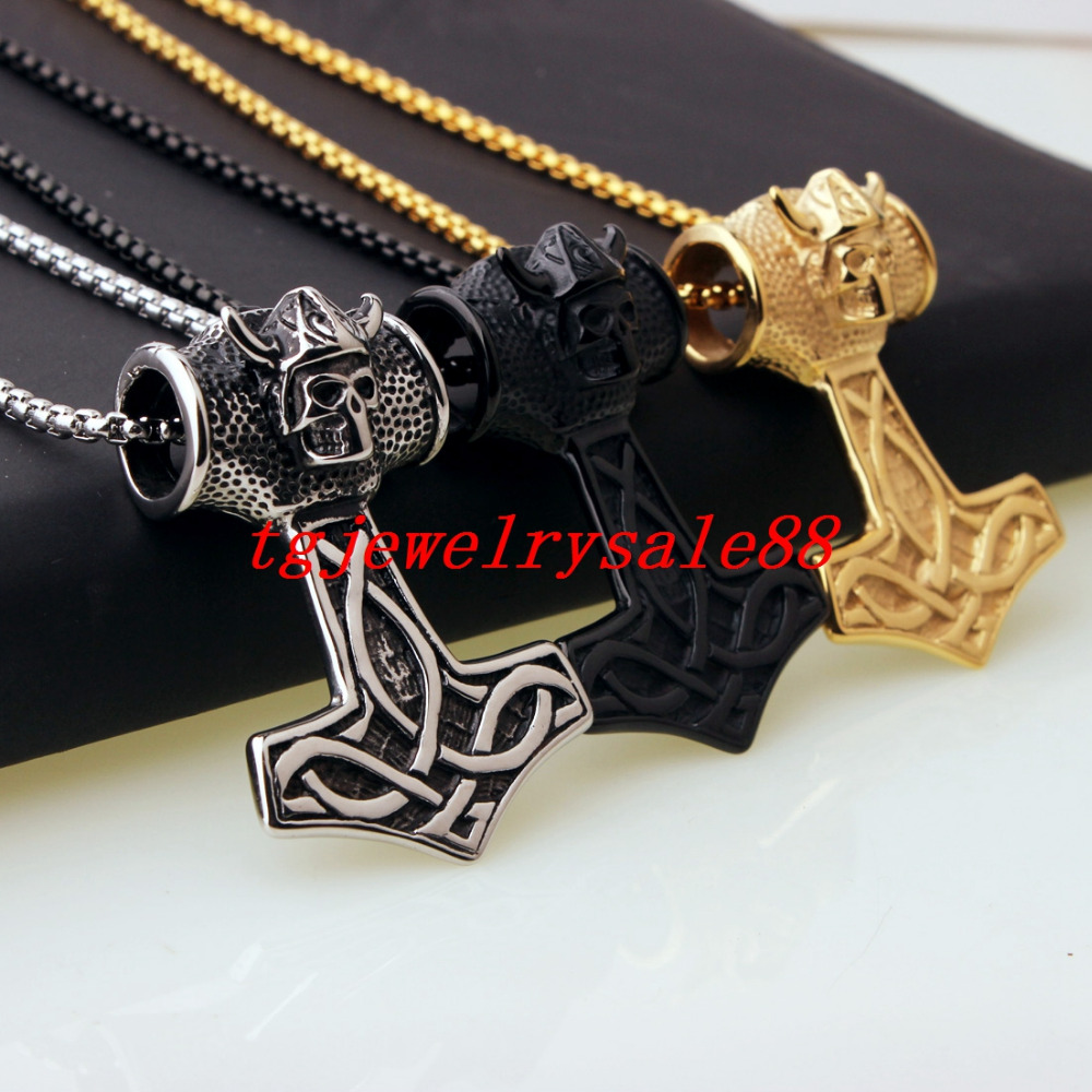 Trendy Stainless Steel Viking Thor Hammer With Cool Skull Skeleton Pendant Necklace Biker Men Classic Jewelry Silver Gold Black