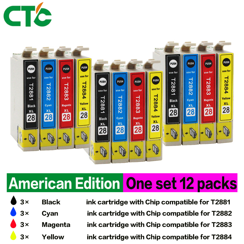 12 Compatible for Expression Home XP-430 Inkjet Cartridge XP-330 XP-340 XP-434 XP-440 Ink Cartridge 288XL Printe t2971 t2962 t2964 refillable ink cartridges for epson xp231 xp431 xp 231 xp 431 xp 241 inkjet printer cartridge with chips