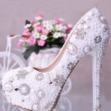 Luxury full  Ivory pearls with blingbling rhinestones 14cm high heels party diamondsshoes bridal wedding shoes Prom Shoes