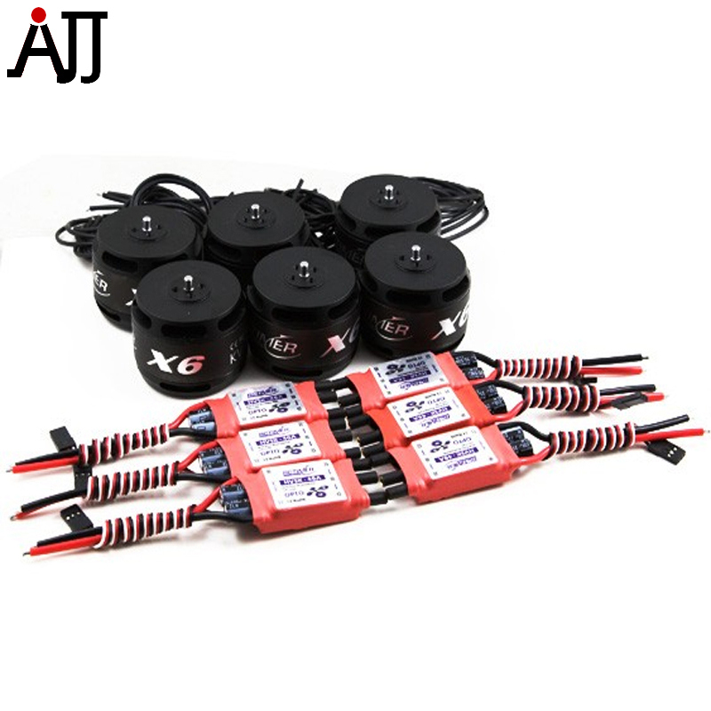 RCTimer 12N14P X6 4715 400KV Multi-Rotor Brushless Motor and HV40A 40A ESC 6 Packs Combo Set X6-C6 new lang yu x4110s 340 400kv 460 680kv 580kv high efficiency multi axis disc motor
