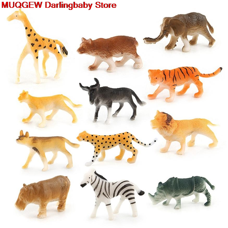 24 PCS Simulation Assorted Plastic Wild Animals Jungle Zoo Figures Toys Squishy Anti Stress Fun Funny Gadget Interesting Toys mr froger aquatic creatures model toy shark wild animals toys zoo modeling set plastic solid sea life fish classic toys turtle