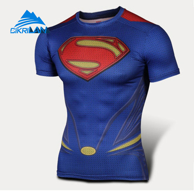 Cikrilan Super Hero Hiking Quick Dry Fitness T-shirts Breathable O-neck Bicycle Outdoor Sport T-shirt Men Trekking Tops Homme