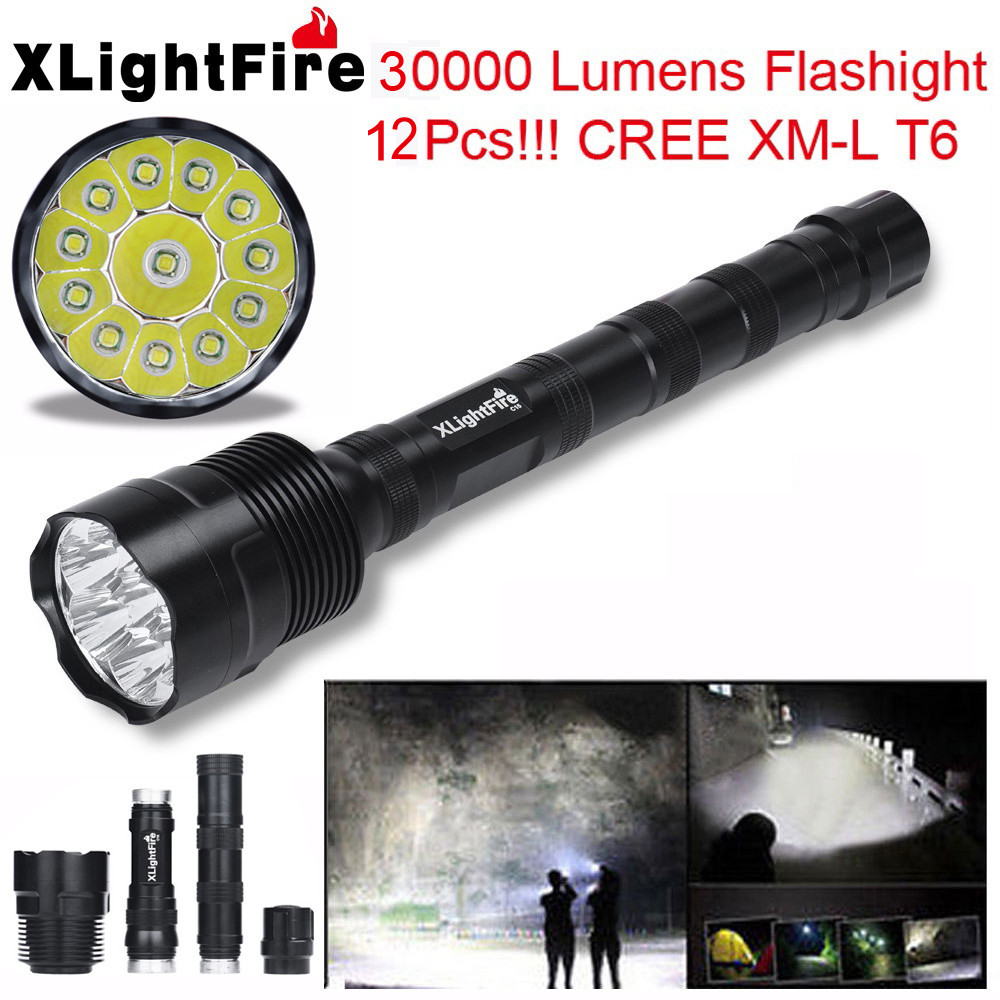 XLightFire 30000 Lumens 12x XML T6 5 Mode 18650 Super Bright LED Flashlight LED Torch Flashlight Latarka Handheld Linterna фонарик hedeli 2000lm xml t6 flashlgiht ficklampa latarka hs506b
