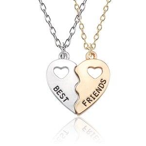 Trendy 2 Pcs/Set Best Friends Gold Necklaces For Women Double Hollow Heart Lover Lettering Pendant Direct sales