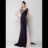 TS Couture Mermaid / Trumpet Jewel Neck Court Train Chiffon Jersey Formal Evening Dress with Crystal Detailing