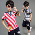 2016 New Korean Boy Child Striped Suit For Children Summer Two Sets Clothes Children's Baby Boys