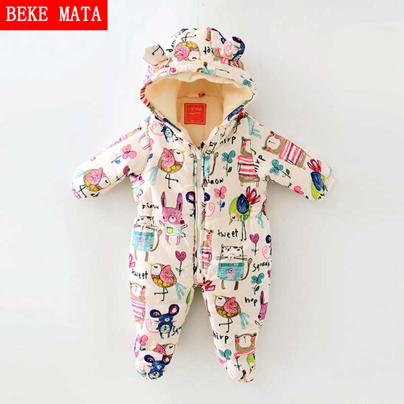 Newborn Baby Girl Clothes Cartoon Baby Boy Rompers Winter 2017 Graffiti Zipper Cotton Baby Snowsuit Thick Warm Toddler Jumpsuits