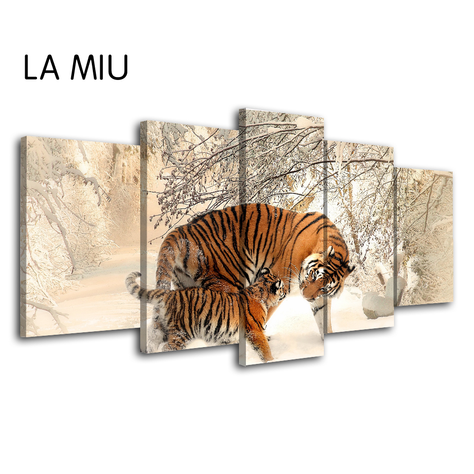 5 Pieces Canvas Art Abstract Poster Nordic Wall Art Canvas Framed Mother Tiger Takes Baby Tiger For a Walk In The Snow Picture