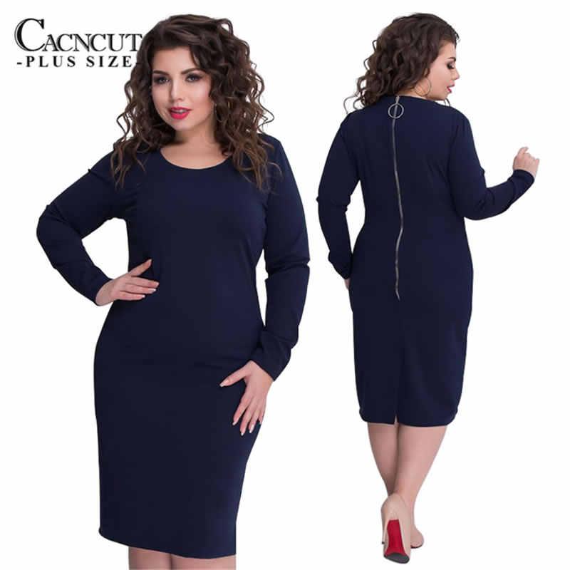 5XL 6XL固体ドレス大サイズビッグプラスサイズオフィスドレス黒冬ドレスボディコンジッパーの女性の服 2018 vestidos