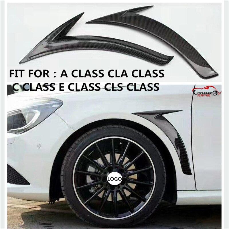 CITYCARAUTO Carbon Fiber Side Fender Trim body part fit for W176 W205 A  CLA   C  E   CLS class yandex w205 amg style carbon fiber rear spoiler for benz w205 c200 c250 c300 c350 4door 2015 2016 2017