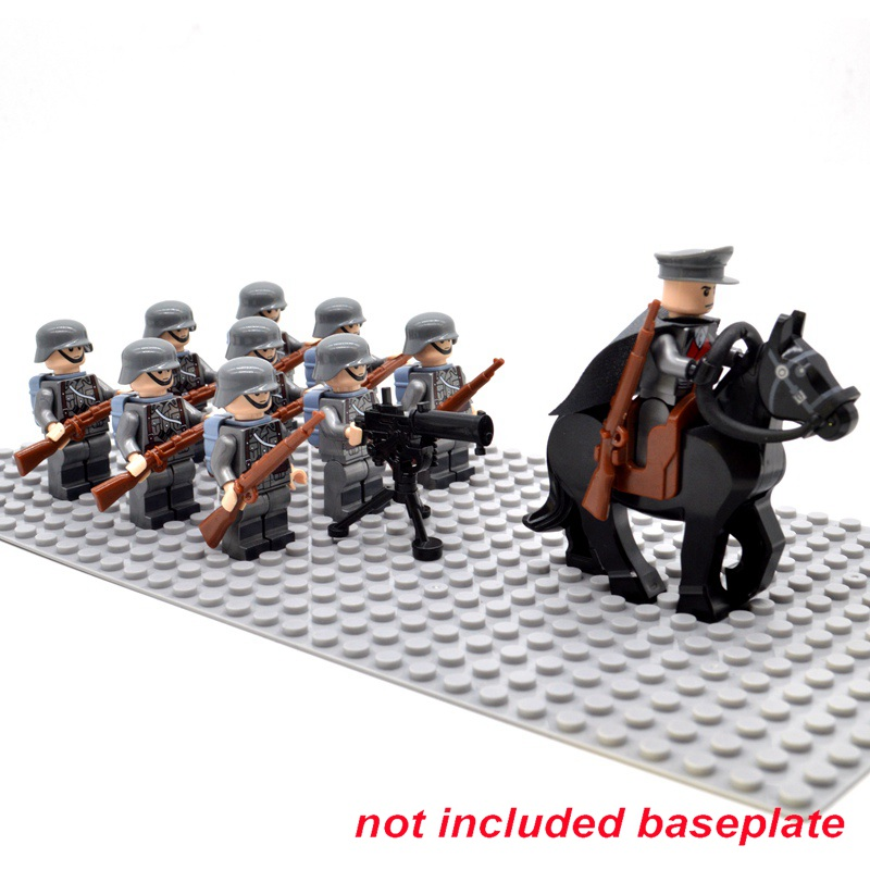 Bricks WW2 Army Soldiers Troop Military German Russia US UK Soviet Union Italy France Japan Block  Building Toys