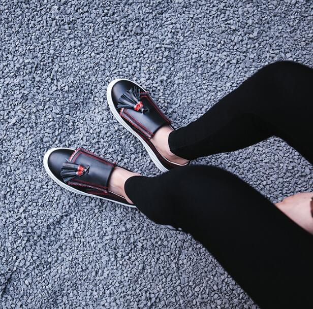 Femelle Talon Sur Picture Bretelles Rond Espadrilles En Chaussures Fringe Picture Bleu as Véritable As Nouvelle Bout Casual Losfers Épais Femmes Slip Cuir F45xnZqa