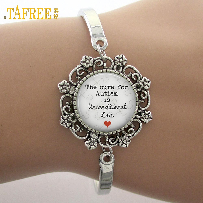 Značka TAFREE Lék na autismus je bezpodmínečný jako sklo Gem Lace Charm Bracelet Phrase Note Photo Bangle High Quality NS190