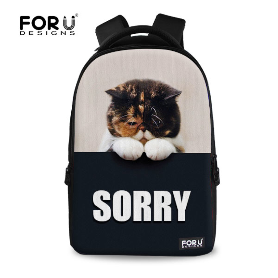 New Canvas School Bags for Girls the Cat Dog Designer Cute Children School Satchel Fashion Women School Backbag Mochila Feminina