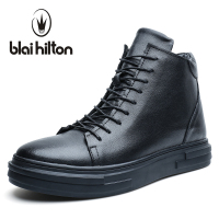 Blaibilton Autumn Luxury Genuine Leather Fashion Western Winter Shoes Men Boots Platform Warm Fur Mens Ankle