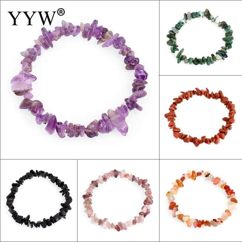 YYW Natural Gems Stone Wristband Bracelets Women's Simple Circle Chips Nuggets Clear Quartz Opal Moonstone Stone Bracelets