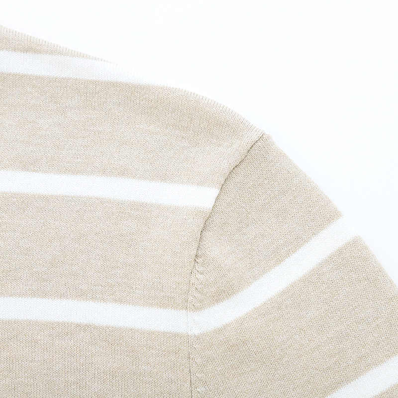 Suéter de punto fino para hombre, suéter a rayas para hombre, con cuello redondo acanalado y puños y dobladillo, ajustado para hombre casual suéteres