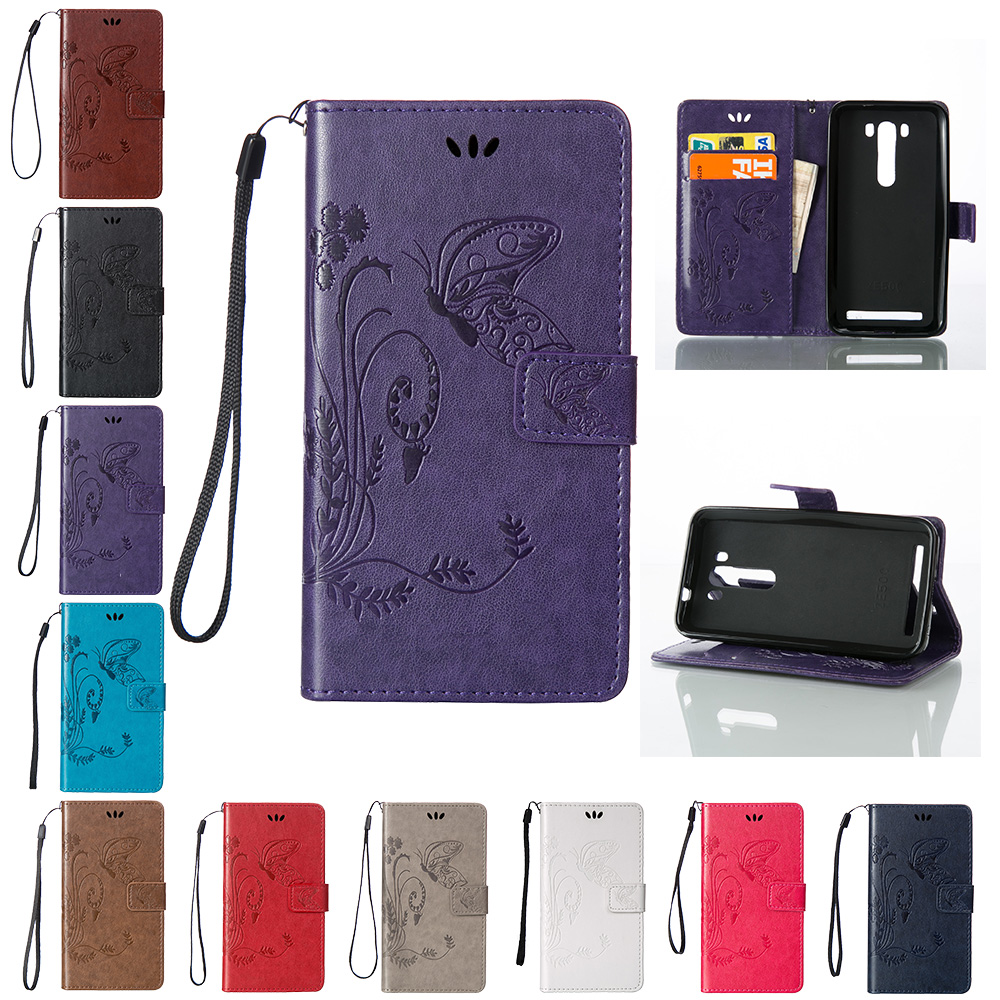 Butterfly Case for ASUS Z00ED Zenfone <font><b>2</b></font> laser ZE500KL ZE500KG <font><b>ZE</b></font> ZE500 500 <font><b>500KL</b></font> 500KG KL KG 5.0 Flip Case Phone Leather Cover image