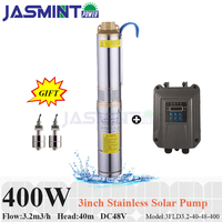 Free water sensor! 400W DC48V solar energy pump 3.2m3/h FLOW, 40m HEAD hot submersible solar water pump with pump controller