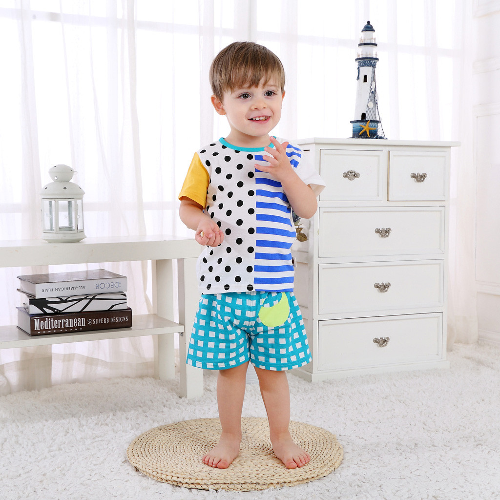 US Summer Kids Baby Girls Boys Printed T-shirt Tops Shorts Outfits Clothes Set