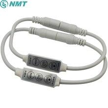 Мини контроллер светодиодного диммера, 100 шт., 12 В, 24 В, 3 клавиши с коннектором постоянного тока для управления одноцветной светодиодной лентой, SMD 3528 5050 5630