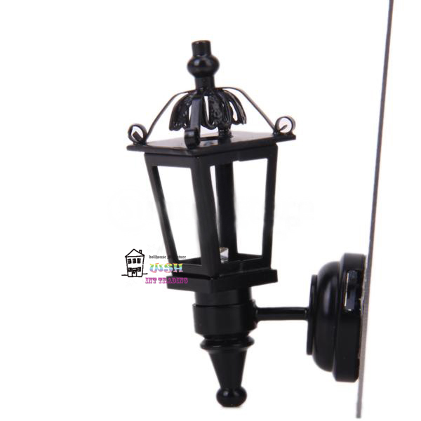 Free Shipping 1:12 Dollhouse Miniature 1:12 outdoor wall black Lamp light led battery operated(China)