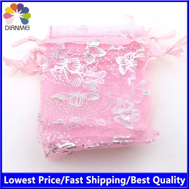 Pink Butterfly Brozning Organza Jewelry Pure Color Organza Bags Tea Bag Packaging Cheap Gift Bags 7x9cm 100pcs/lot  Wholesale