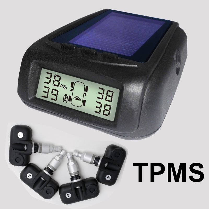 Solar Power Wireless Tire Pressure Monitoring System Car TPMS with 4pcs External sensor