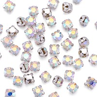 3.8~4x3.8~4mm Square Brass Grade A Rhinestone Beads Montee beads, Grade A, Silver Metal Color, Crystal AB, Hole: 1mm(The hole